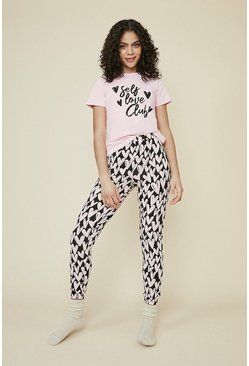 Pink Self Love Club Heart Cotton PJ Set