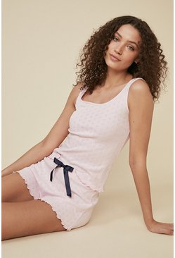 Pink Heart Print Pointelle PJ Short Set