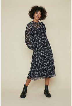 Black Floral Frill Yoke Printed Mesh Smock Dress