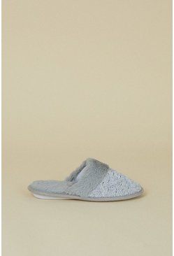 Grey Knitted Faux Slipper