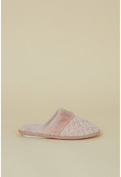 Pink Knitted Faux Slipper