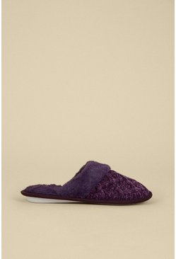 Purple Knitted Faux Slipper