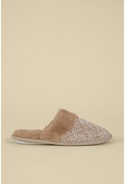 Stone Knitted Faux Slipper