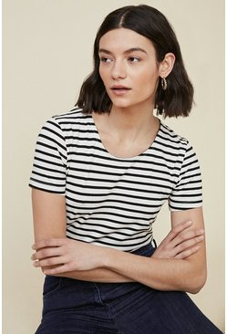 Blackwhite Organic Cotton Fitted Stripe Crew Neck T Shirt