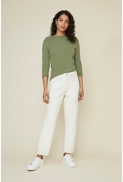 Khaki Organic Cotton Slash Neck Top