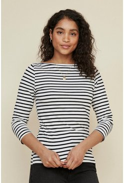 Blackwhite Organic Cotton Stripe Slash Neck Top