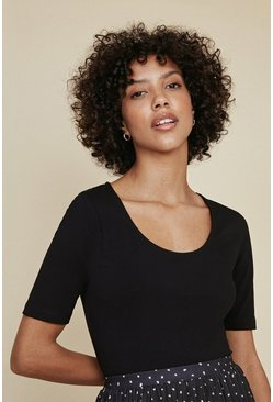 Black Organic Cotton Scoop Neck T Shirt