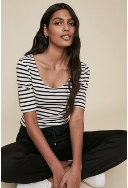 Blackwhite Organic Cotton Stripe Scoop Neck T Shirt