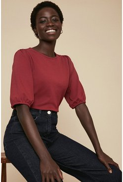 Berry Ponte Puff Sleeve Top