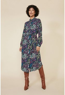 Multi Ditsy Print Shirt Dress