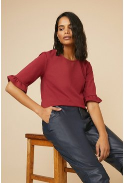 Berry Ponte Frill Sleeve Top
