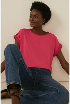 Hot pink Turn Back Cuff T Shirt