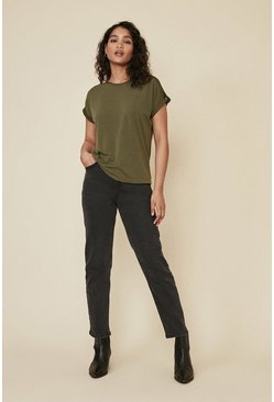 Khaki Turn Back Cuff T Shirt
