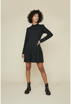 Black Button Pleat Dress