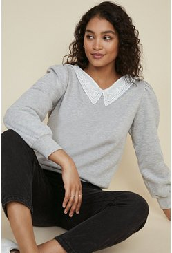 Grey marl Embroidered Collar Sweatshirt