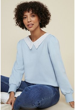 Light blue Embroidered Collar Sweatshirt