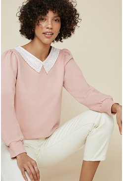 Soft pink Embroidered Collar Sweatshirt