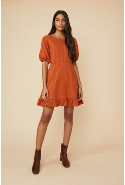 Rust Pointelle Fit And Flare Dress
