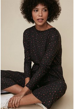 Black Spot And Heart Slash Neck Jumpsuit