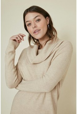 Beige Cowl Neck Knitted Dress
