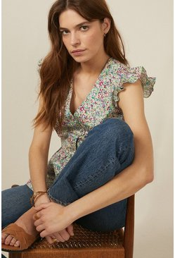 Multi Ditsy Print Cotton Shell Top
