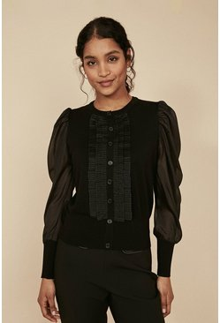 Black Woven Sleeve Ruffle Front Cardigan