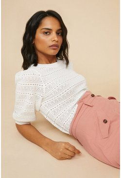 Ivory Pointelle Puff Sleeve Jumper