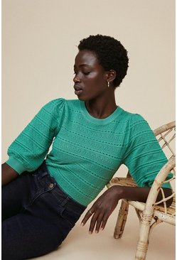 Sage Pointelle Puff Sleeve Jumper