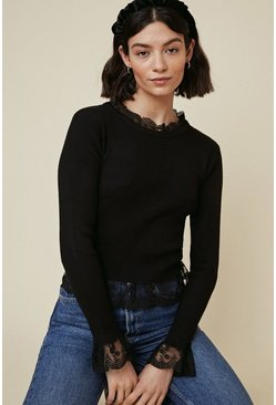 Black Lace Ruffle Jumper