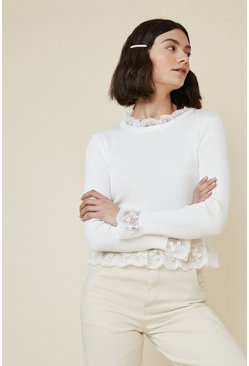 Cream Lace Ruffle Jumper