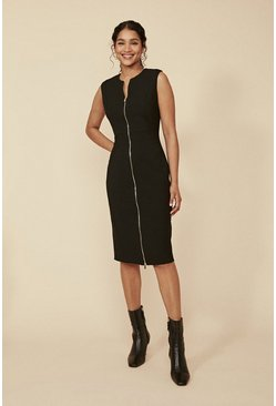 Black Premium Zip Front Sleeveless Pencil Dress