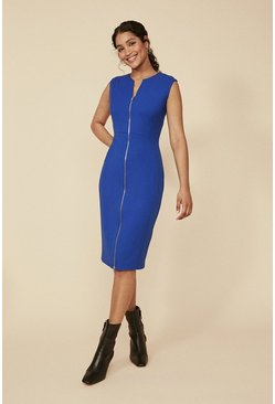 Cobalt Premium Zip Front Sleeveless Pencil Dress