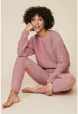 Pink Knitted Textured Jogger And Sweat Set