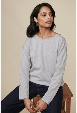 Grey marl Button Shoulder Long Sleeve Top