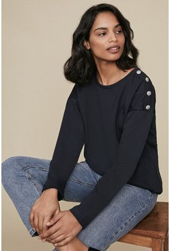 Navy Button Shoulder Long Sleeve Top