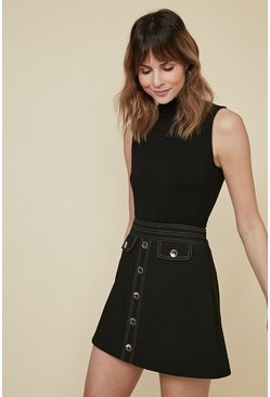 Black Premium Button Front Tailored Skirt