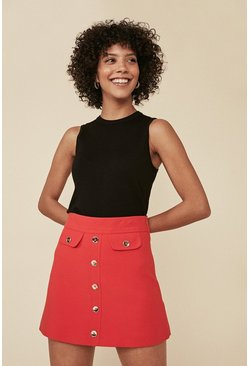 Red Premium Button Front Tailored Skirt