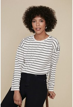 Navy Breton Stripe Button Shoulder Top