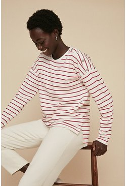 Red Breton Stripe Button Shoulder Top