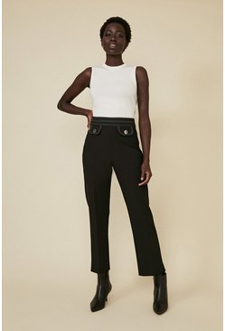 Black Tailored Top Stitch Trousers