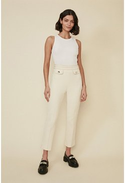 Cream Tailored Top Stitch Trousers