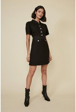 Black Premium Contrast Stitch Detail Shift Dress
