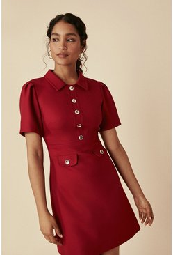 Red Premium Contrast Stitch Detail Shift Dress