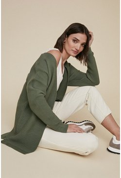 Khaki Ottoman Edge To Edge Cardigan