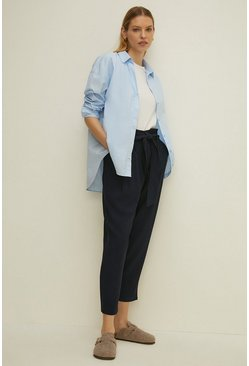 Navy Tie Waist Paper Bag Trousers