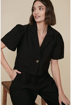 Black Cropped Puff Sleeve Tailored Jacket