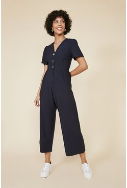 Navy Tailored Puff Sleeve Jumpsuit