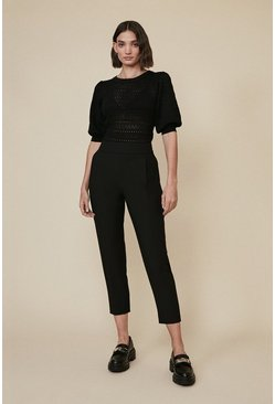Black Tapered High Waisted Trousers