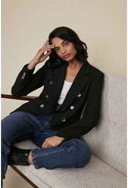Black Premium Tailored Military Blazer
