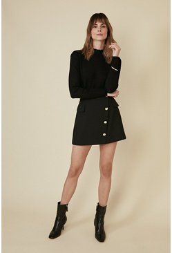 Black Pocket Button Front Mini Skirt